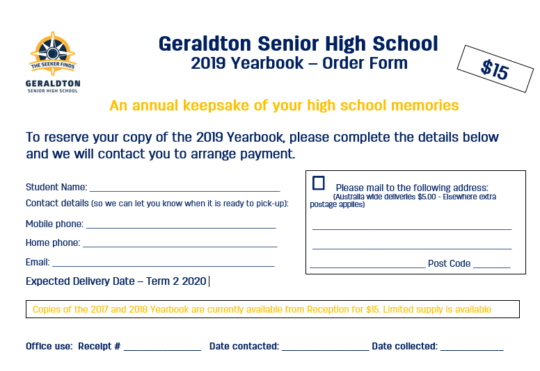 2019 Yearbook Order Form updated